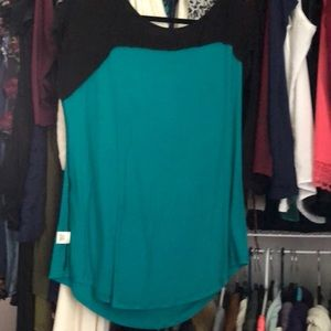 Black and teal blouse